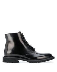 schwarze Lederfreizeitstiefel von Saint Laurent