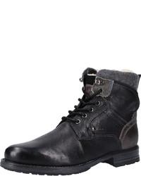 schwarze Lederfreizeitstiefel von Tom Tailor