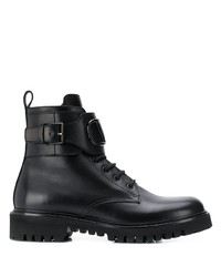 schwarze Lederfreizeitstiefel von Valentino