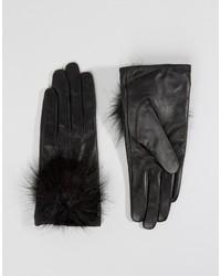 schwarze Lederhandschuhe von Aldo