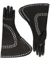 schwarze Lederhandschuhe von Alexander McQueen
