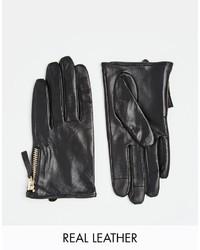 schwarze Lederhandschuhe von Asos
