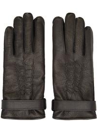 schwarze Lederhandschuhe von Belstaff