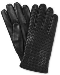 schwarze Lederhandschuhe von Bottega Veneta
