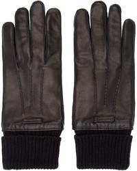 schwarze Lederhandschuhe von Burberry