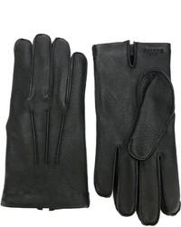 schwarze Lederhandschuhe von Canali