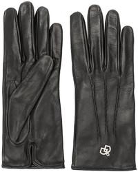 schwarze Lederhandschuhe von Dsquared2