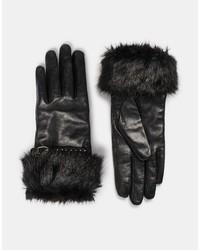 schwarze Lederhandschuhe von Dune