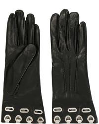 schwarze Lederhandschuhe von Ermanno Scervino