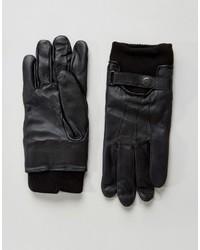 schwarze Lederhandschuhe von French Connection