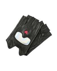 schwarze Lederhandschuhe von Karl Lagerfeld