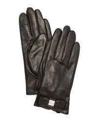 schwarze Lederhandschuhe von Kate Spade