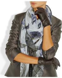schwarze Lederhandschuhe von Lanvin