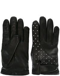 Schwarze Lederhandschuhe von Les Hommes