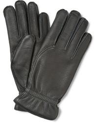 schwarze Lederhandschuhe von Loro Piana