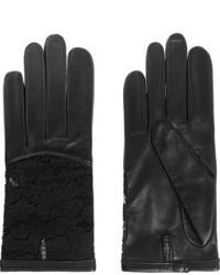schwarze Lederhandschuhe von Nina Ricci