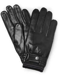 schwarze Lederhandschuhe von Paul Smith