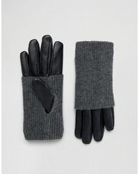 schwarze Lederhandschuhe von Pieces