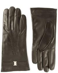 schwarze Lederhandschuhe von Salvatore Ferragamo