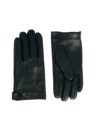 schwarze Lederhandschuhe von Selected