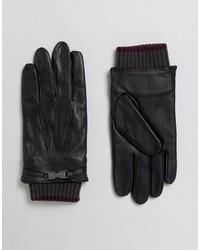 Schwarze Lederhandschuhe von Ted Baker