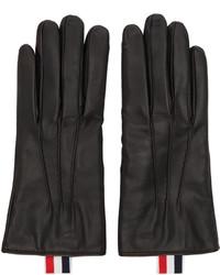schwarze Lederhandschuhe von Thom Browne