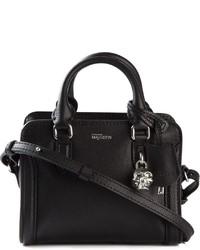 schwarze Lederhandtasche von Alexander McQueen