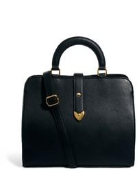 schwarze Lederhandtasche von Asos