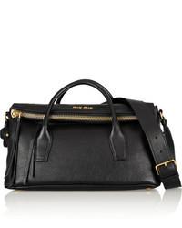 schwarze Lederhandtasche von Miu Miu