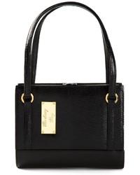 schwarze Lederhandtasche von Moschino