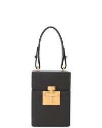 schwarze Lederhandtasche von Oscar de la Renta