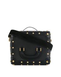 schwarze Lederhandtasche von Sacai