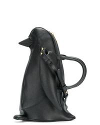 schwarze Lederhandtasche von Thom Browne