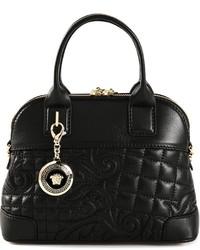 schwarze Lederhandtasche von Versace