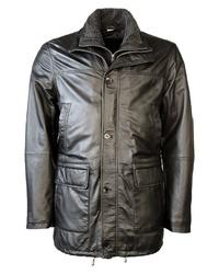 schwarze Lederjacke mit einer kentkragen und knöpfen von JCC