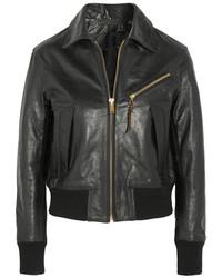 schwarze Lederjacke mit Reliefmuster von Golden Goose Deluxe Brand