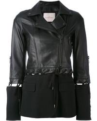 schwarze Lederjacke von A.F.Vandevorst