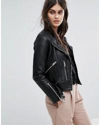 schwarze Lederjacke von AllSaints