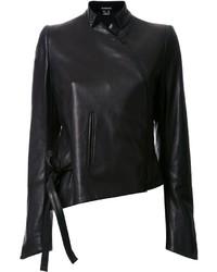 schwarze Lederjacke von Ann Demeulemeester