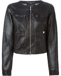 schwarze Lederjacke von Armani Jeans