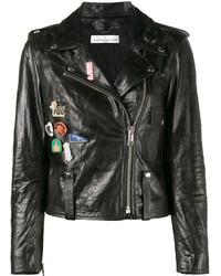 schwarze Lederjacke von Golden Goose Deluxe Brand