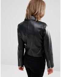schwarze Lederjacke von Asos