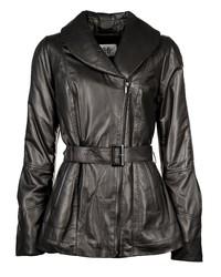 schwarze Lederjacke von JCC
