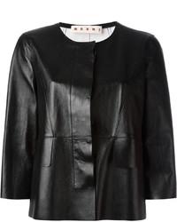 schwarze Lederjacke von Marni