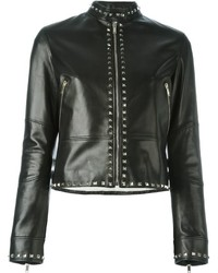 schwarze Lederjacke von Valentino