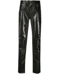 schwarze Lederjeans von Saint Laurent