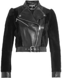 Schwarze Lederlammfelljacke von Alexander McQueen