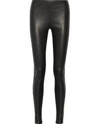 schwarze Lederleggings von Balenciaga