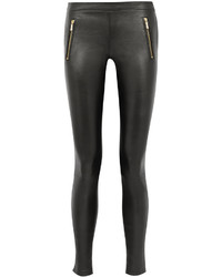 schwarze Lederleggings von Karl Lagerfeld