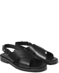 schwarze Ledersandalen von Balenciaga